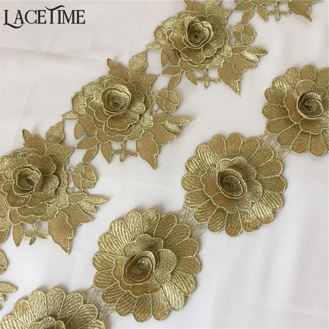 Vintage style Venice Lace Applique Brown Floral Bridal Gown Embroidery Patches